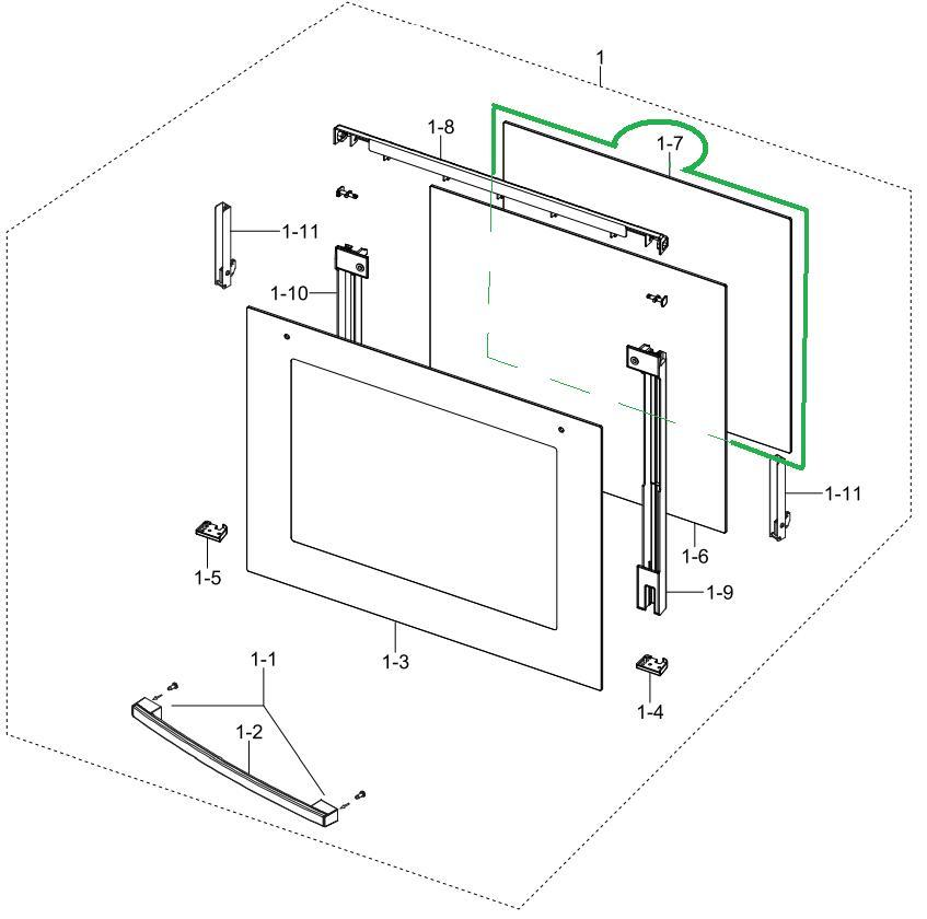 Cudowna DG64-00326A szyba piekarnika wewnętrzna GLASS-DOOR INNER;GVE MODEL OP99